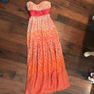 Strapless floor-length dress